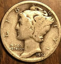1934 UNITED STATES 10 CENTS MERCURY DIME COIN - $5.29