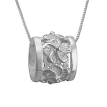 "Sterling Silver Plumeria Bead Barrel Pendant Necklace, 16+2"" Extender - $29.36"