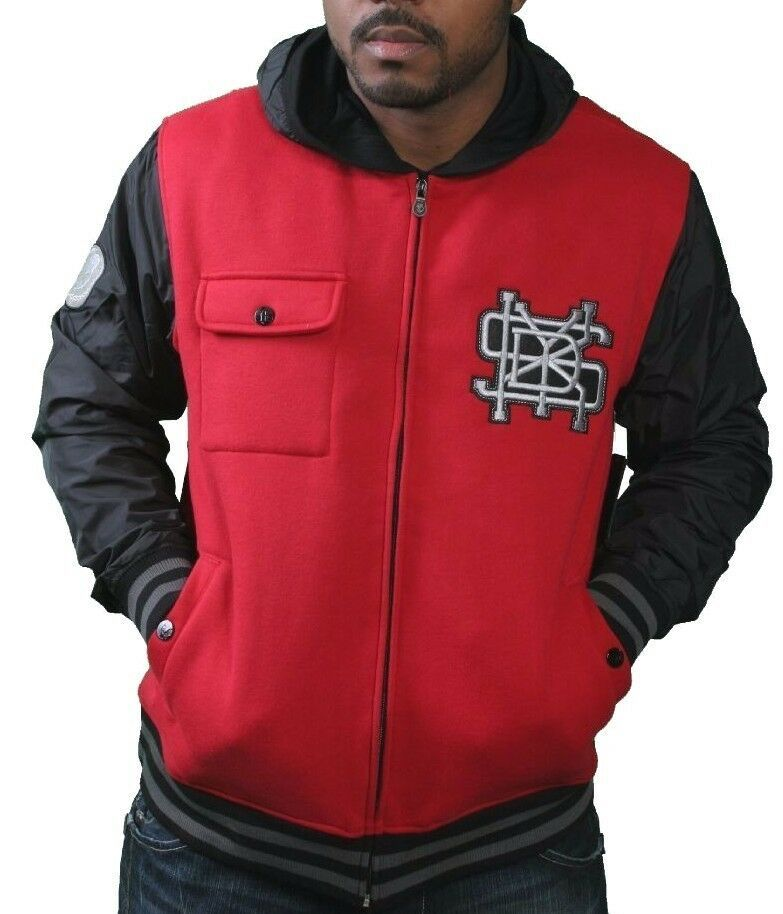 Skullcandy Mens Red State Fleece Zip Up Hoodie Jacket w Nylon Sleeves & Hood Lrg