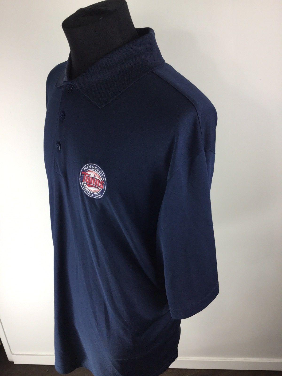 3bc72277851 ANTIGUA Button V-Neck Blue Minnesota Twins MLB Baseball Polo Shirt Men's  Size XL