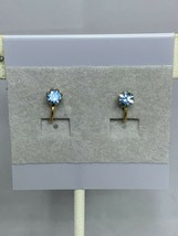 Vintage Gold Tone & Blue Rhinestone Clip On Earrings ( 2136 ) - $6.00