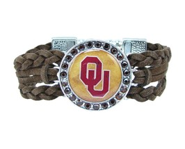 Oklahoma Sooners Braided Brown Leather Crystal Bracelet Jewelry Red OU Gift - $9.89
