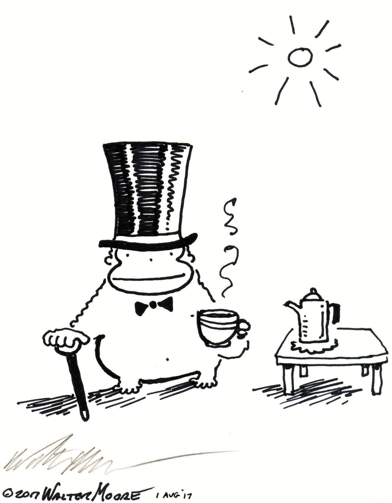 Top Hat Ape Drinks Cup of Tea. Original Signed Cartoon by Walter Moore