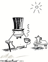 Top Hat Ape Drinks Cup of Tea. Original Signed Cartoon by Walter Moore - $9.44