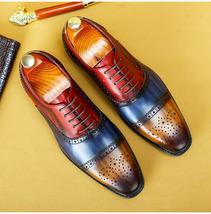 Three Tone Semi Brogue Premium Leather Oxford Laces Patina Formal Weddin... - $149.99+