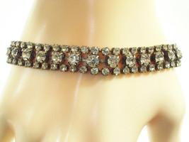 Vintage RHINESTONE Bracelet 3 Rows Clear SPARKLING Elegant Dressy - $18.80