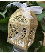 100pcs glitter gold laser cut favor Box,small chocolate boxes,party deco... - $48.00