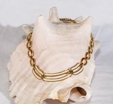 Vintage Napier necklace white enamel gold tone mid century links signed - $26.73