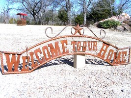 Metal Welcome to our HOME Sign Wall Entry Gate EXTRA LARGE 56 1/2 inch bz - $179.98