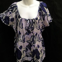 H&M Sz 16 Top Blue Purple Tropical Floral Semi-Sheer Flutter Cap Sleeve - $19.58