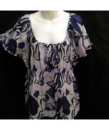 H&M Sz 16 Top Blue Purple Tropical Floral Semi-Sheer Flutter Cap Sleeve - $19.58