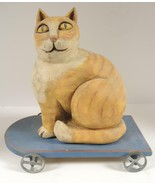 Vintage R. Smith and R. Shrode Hand Painted Folk Art Wooden Cat Pull Toy - $75.99