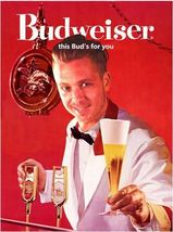 Vintage Budweiser King of Beer Ad   This Bud's For You   2.5 x 3.5 Fridg... - $3.99