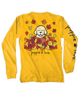 Puppie Love Rescue Dog Long Sleeve Graphic Tee/T-Shirt, Autumn Leaves Pup - $26.99