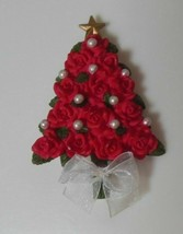 Vintage Avon Resin Red Rose & Faux Pearl Christmas Tree Brooch Star White Ribbon - $16.50