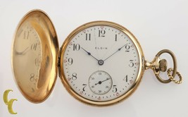 Elgin Antique Full Hunter 14K Yellow Gold Pocket Watch Gr 339 16S 17-Jewel - $1,024.64
