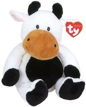 Ty Pluffies Plush Grazer Cow TyLux 2002 White  Black NEW Stuffed Plush B... - $24.45