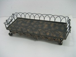 Vintage Metal Footed Display Tray Fruit Holder with Handles Intricate De... - $13.98