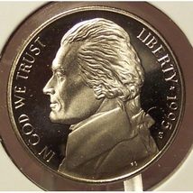 1995-S Deep Cameo Proof Jefferson Nickel #0747 - $4.29