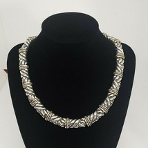 Silver Tone Statement Choker Necklace Vintage Signed Chic Costume Jewelry - $24.97