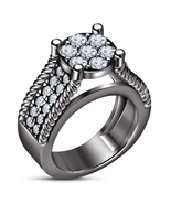 Women's Halo Engagement Ring Round Cut White CZ 14k Black Gold Plated 92... - $106.32