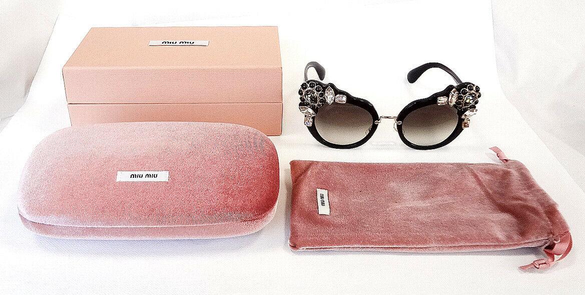 MIU MIU Women's Sunglasses MU04SS 1AB0A7 145 Black Acetate/Jewels ITALY - New!
