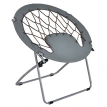 Outdoor Camping Folding Round Bungee Chair-Gray - £62.23 GBP