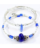 Blue And Crystal Beaded Handmade Bracelet Pair Fashion Jewelry Accessory - $18.00