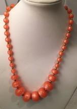 "Vintage Signed Hobe Orange Graduated Bead Necklace 22"" Clip Earrings Set - $29.65"