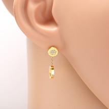 Gold Tone Designer Circle Earrings, Swarovski Style Crystals & Roman Numerals - $17.99
