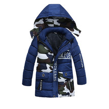 boys autumn and winter warm outwear children s hooded camouflage coat long sleeve coat thumb200