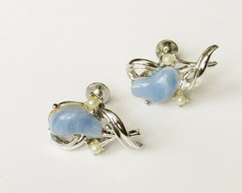 Coro screw back earrings blue plastic stones faux pearls silver tone - $4.46