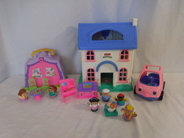 Little People Blue Roof Dollhouse + Camping Adventure + Pink Car + Peopl... - $41.03