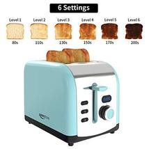 Toaster, 2 Slice Retro Toasters Stainless Steel with LED Timer Display Blue image 6