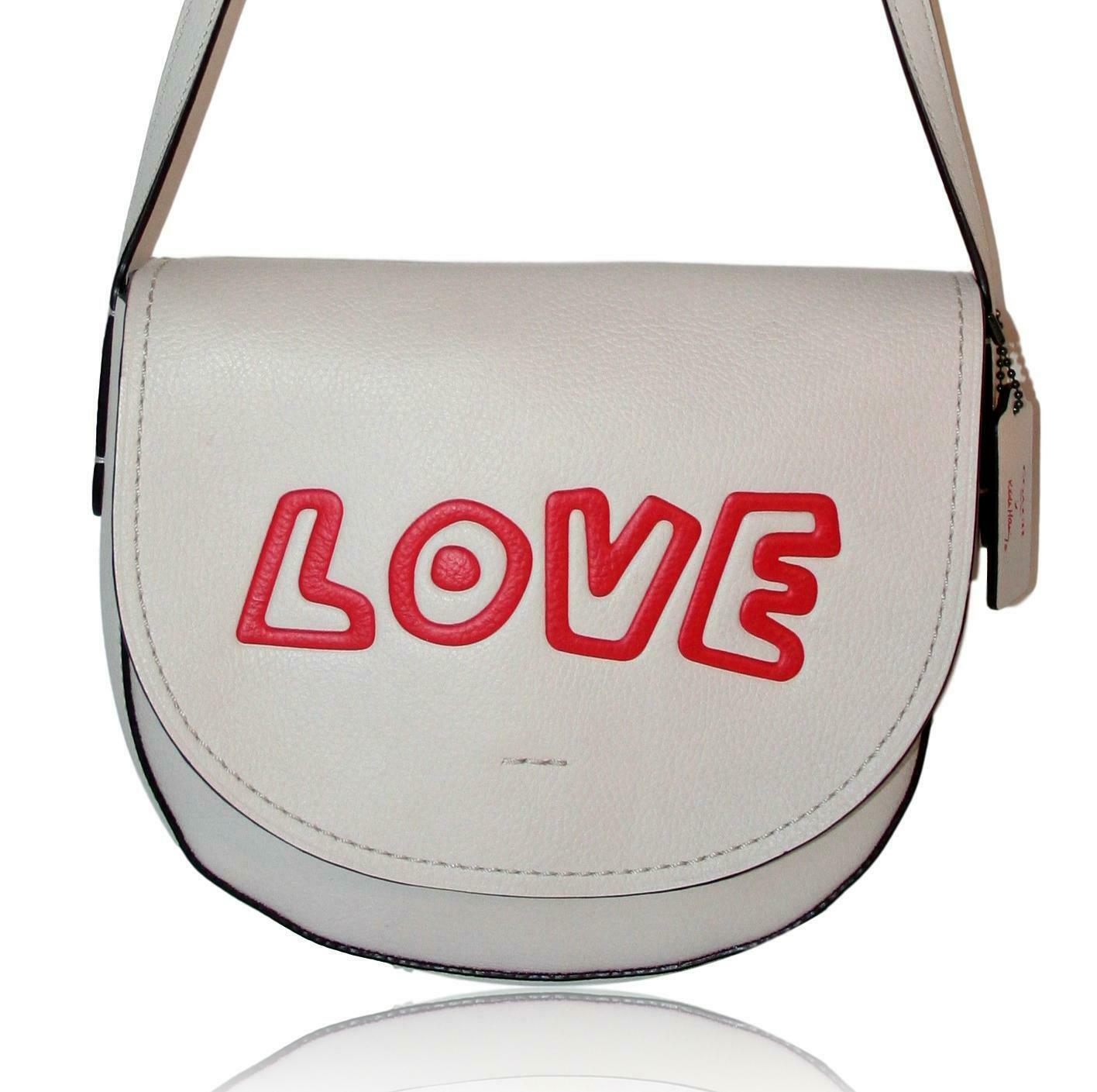 COACH x Keith Haring Leather Shoulder Bag LOVE WHITE  New!