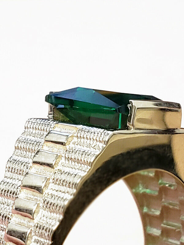 10K White Gold Mens Square CZ Birthstone Watchband Ring image 9