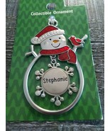"Christmas Snowman Rare Personalize ""Stephanie""CollectableSilver Ornament... - $29.35"