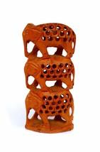 Hand Carved Wild Animal 3 Elephant Sculpture Figurine Wooden Mini GiftStatue Art - $39.27