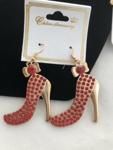 Red Gold Rhinestone Shoe Earring Purse Keychain Necklace Choker Jewelry Bundle