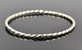 Twisted Design Sterling Silver Thin Dainty Bangle Bracelet Vintage - $22.46