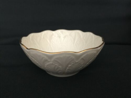Vintage Lenox Cream Beige 24k Gold Rim Encrusted Bowl Made in USA Leaf Leaves