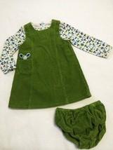 Gymboree Hide And N Seek 3T Green Corduroy Jumper Dress Mushroom Shirt B... - $24.99
