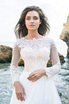 Imported European White/Ivory Lace Long Sleeve Elegant Chiffon Satin Wedding Gow image 6