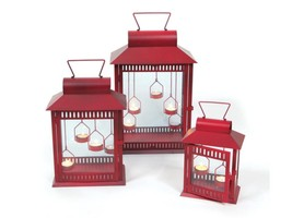 "Melrose Set of 3 Red Christmas Indoor/Outdoor Tea Light Candle Lanterns 18"" - $113.84"