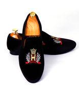 New Handmade Men's Black Velvet Slip Ons Loafer Embroidered Shoes - $129.99+