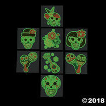 Glow-in-the-Dark Day of the Dead Tattoos - $7.74
