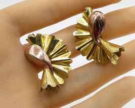 MONET STERLING 18K Gold & 925 Silver - Vintage Origami Clip On Earrings ... - $60.74