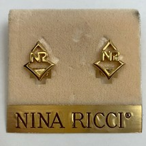 Nina Ricci Gold Tone Clip On Earrings NR Logo Initials - $24.70