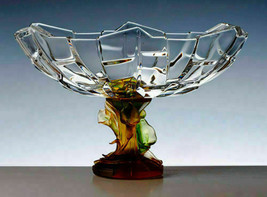 Cristal de Paris French Glass Fruit Bowl Amber Handmade France NEW - $861.30