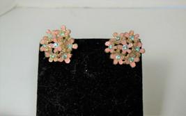 Pink Enamel & Blue Rhinestone Earrings - $7.91